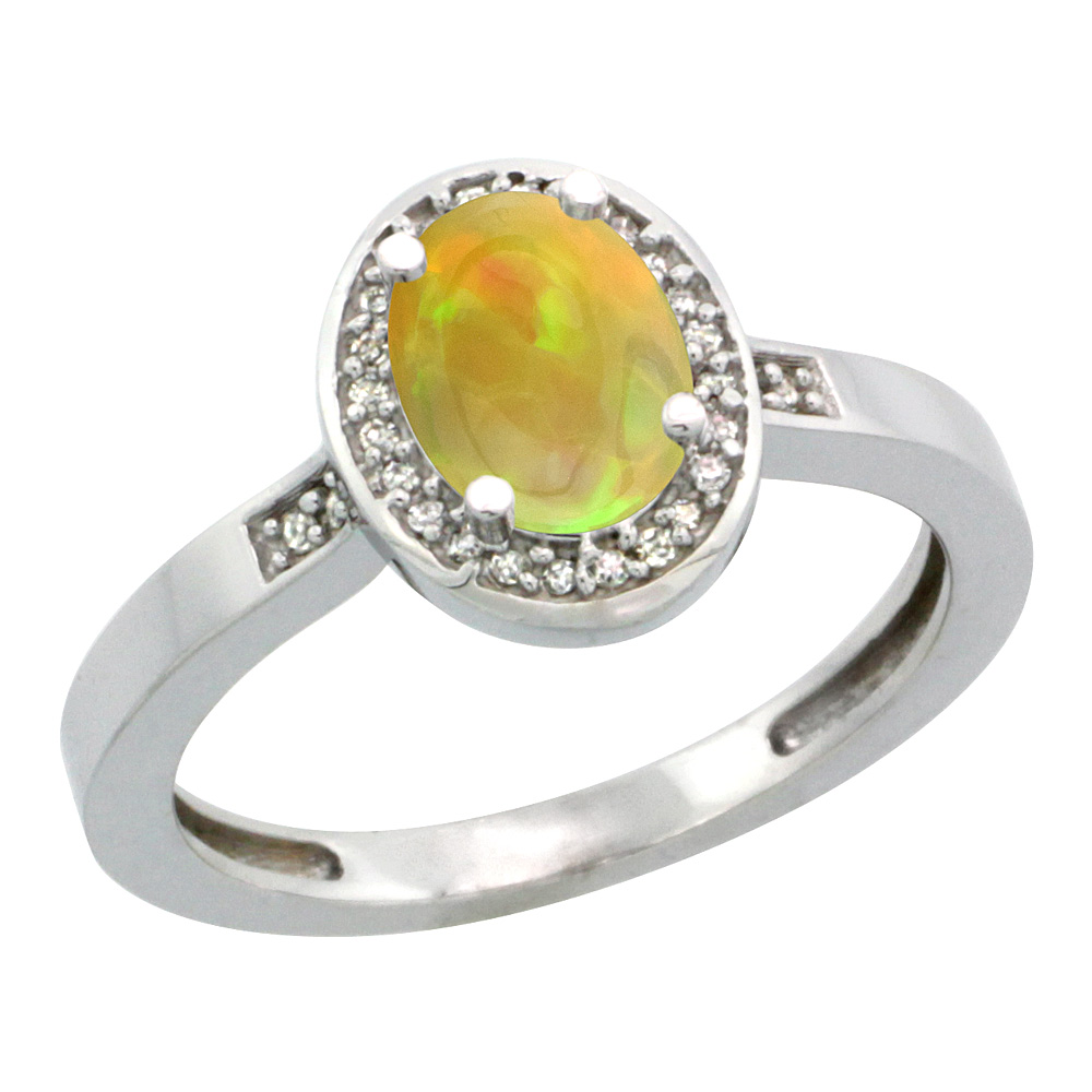 Sterling Silver Diamond Natural Ethiopian HQ Opal Ring Oval 7x5 mm, sizes 5-10