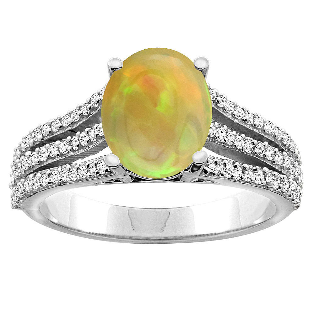 10K White/Yellow Gold Diamond Natural Ethiopian Opal Tri-split Engagement Ring Oval 9x7mm, size 5 - 10