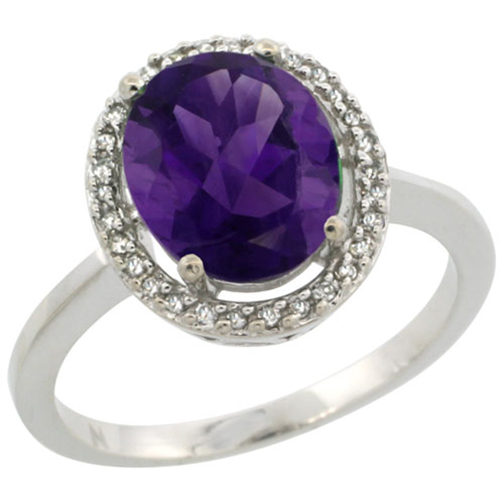 Sterling Silver Diamond Halo Natural Amethyst Ring Oval 10X8 mm, 1/2 inch wide, sizes 5-10