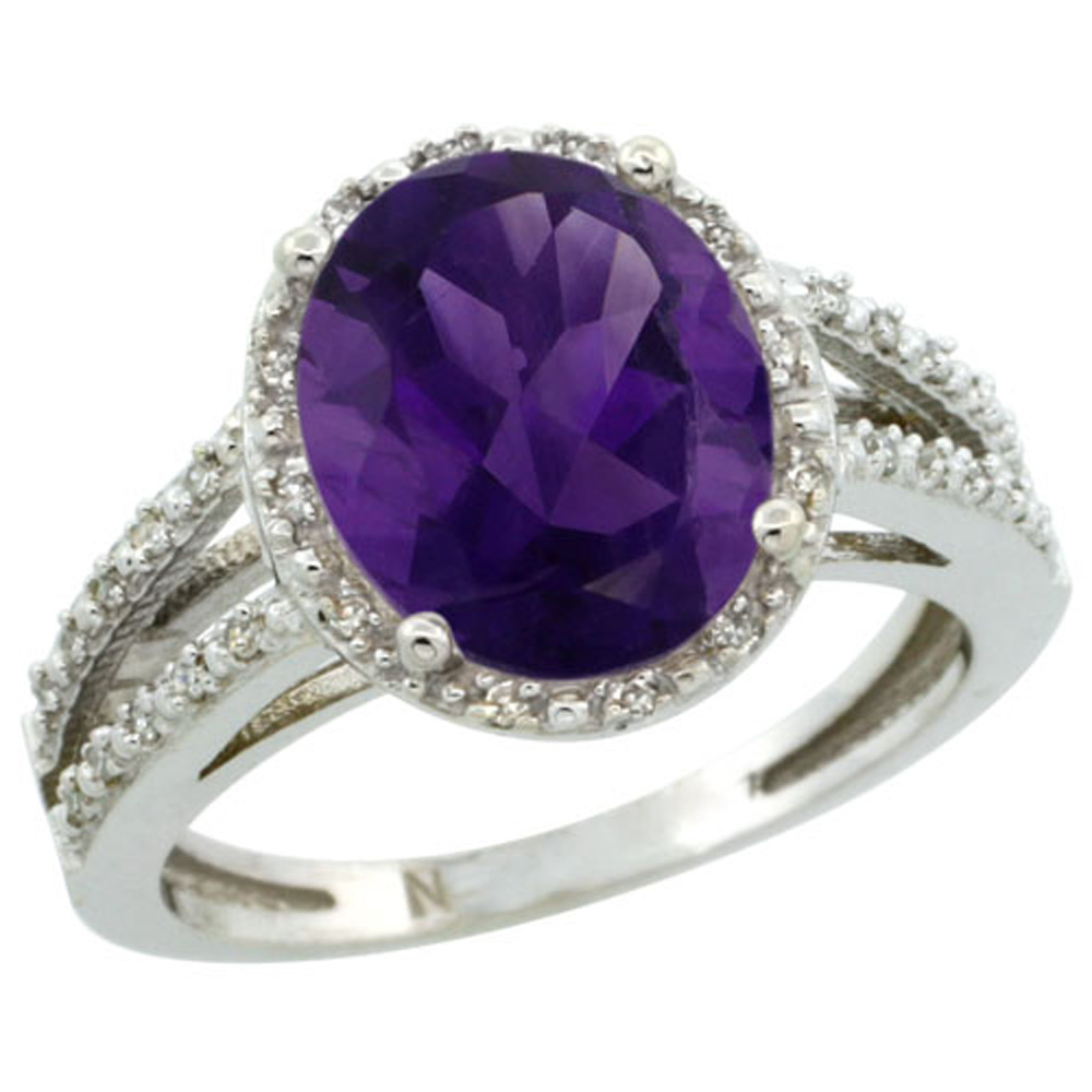 Sterling Silver Diamond Halo Natural Amethyst Ring Oval 11x9mm, 7/16 inch wide, sizes 5-10