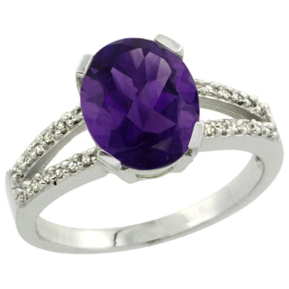 Sterling Silver Diamond Halo Natural Amethyst Ring Oval 10x8mm, 3/8 inch wide, sizes 5-10