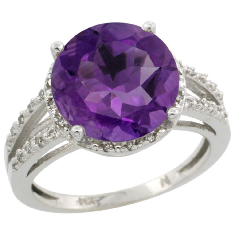 Sterling Silver Diamond Natural Amethyst Ring Round 11mm, 1/2 inch wide, sizes 5-10