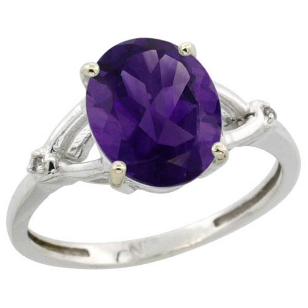 Sterling Silver Diamond Natural Amethyst Ring Oval 10x8mm, 3/8 inch wide, sizes 5-10