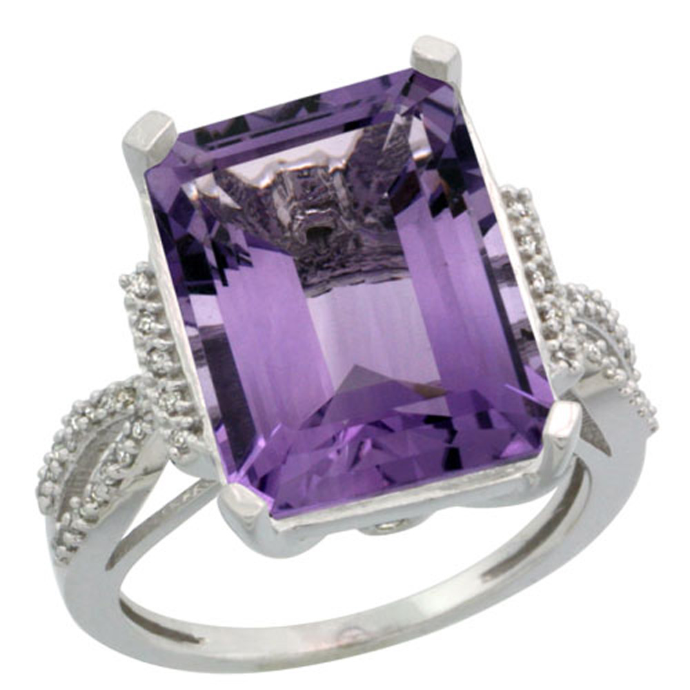 Sterling Silver Diamond Amethyst Ring Emerald-cut 16x12mm, 3/4 inch wide, sizes 5-10