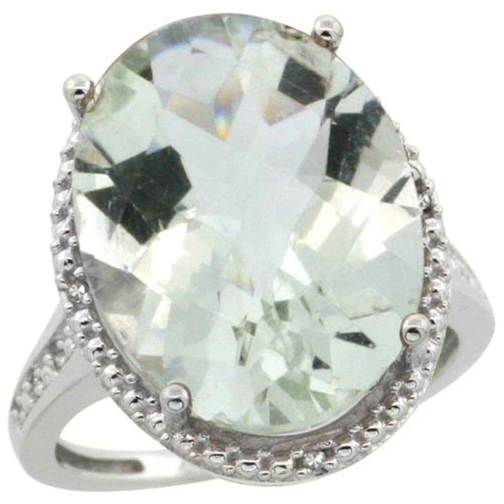 Sterling Silver Diamond Natural Green Amethyst Ring Ring Oval 18x13mm, 3/4 inch wide, sizes 5-10