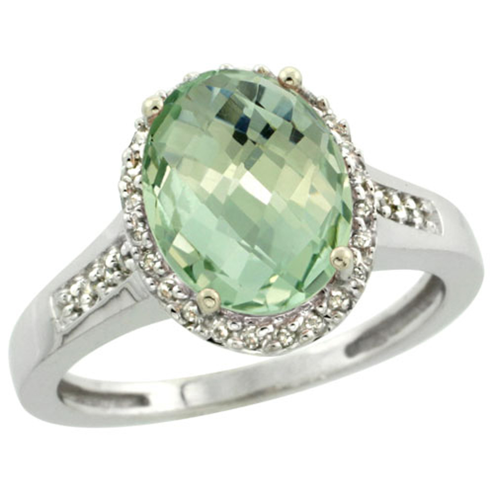Sterling Silver Diamond Natural Green Amethyst Ring Oval 10x8mm, 1/2 inch wide, sizes 5-10