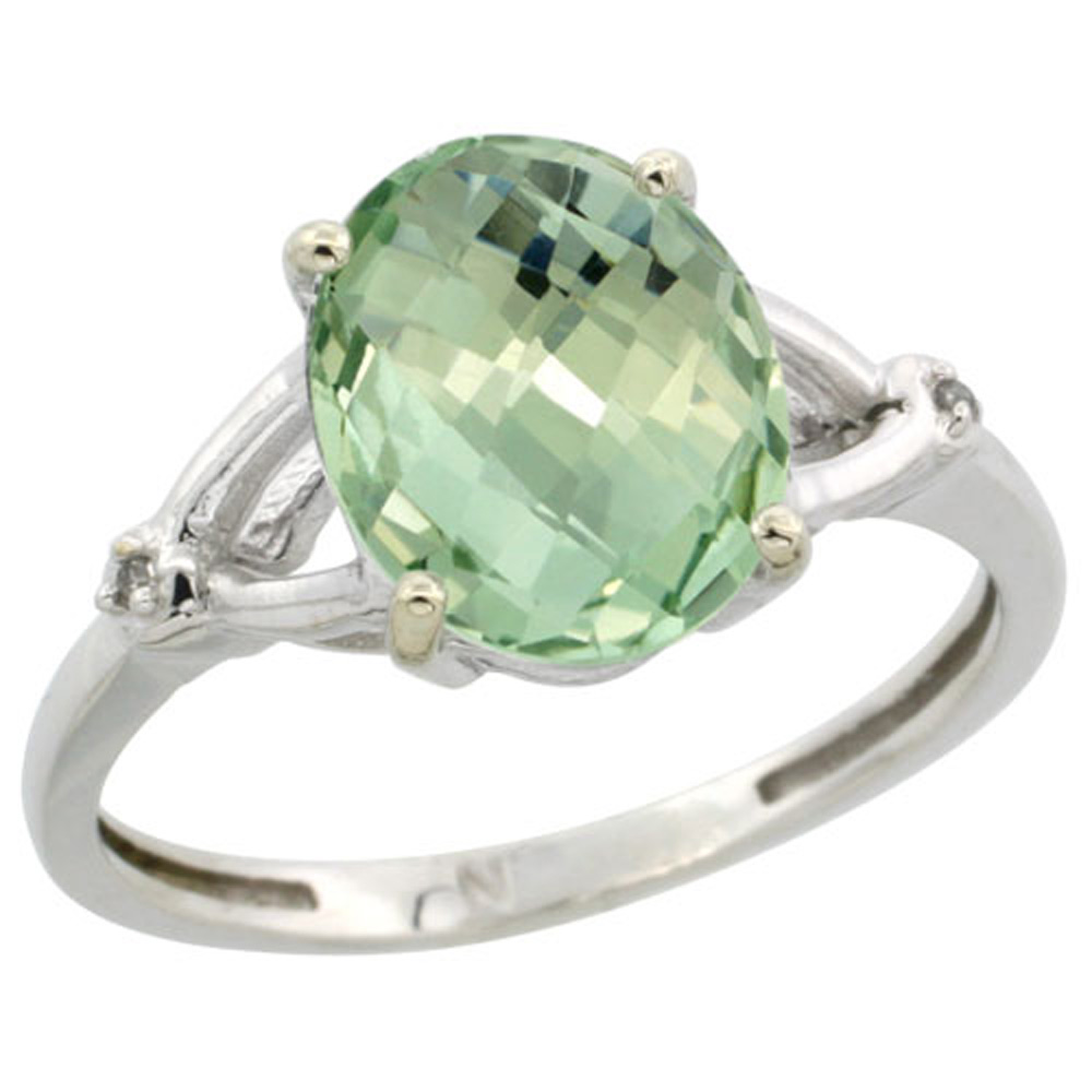 Sterling Silver Diamond 10x8mm Oval Natural Green Amethyst Engagement Ring for Women 3/8 inch wide Sizes 5-10