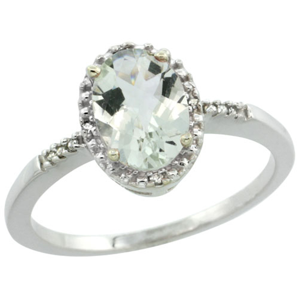 Sterling Silver Diamond Natural Green Amethyst Ring Ring Oval 8x6mm, 3/8 inch wide, sizes 5-10