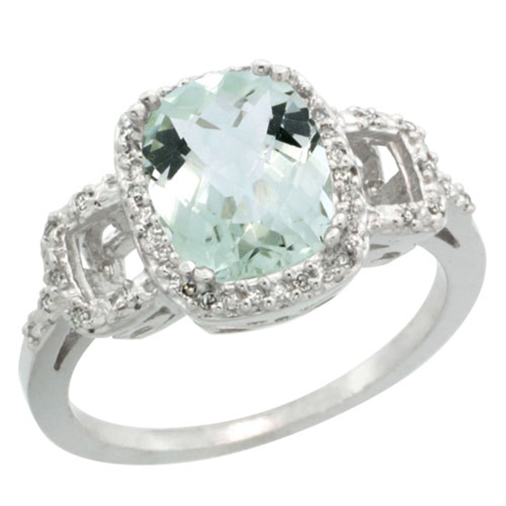 Sterling Silver Diamond Natural Green Amethyst Ring Cushion-cut 9x7mm, 1/2 inch wide, sizes 5-10