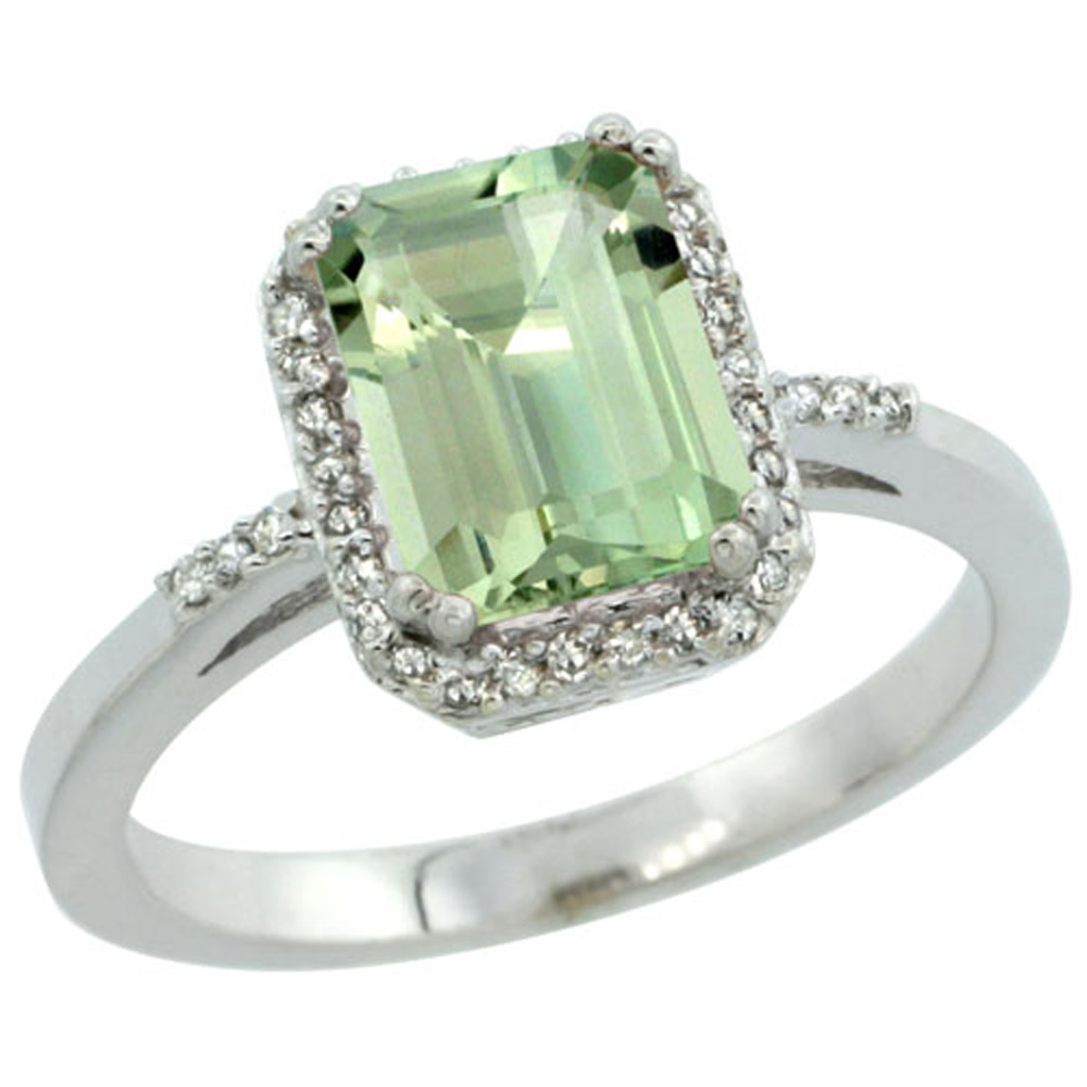 Sterling Silver Diamond Green Amethyst Ring Emerald-cut 8x6mm, 1/2 inch wide, sizes 5-10