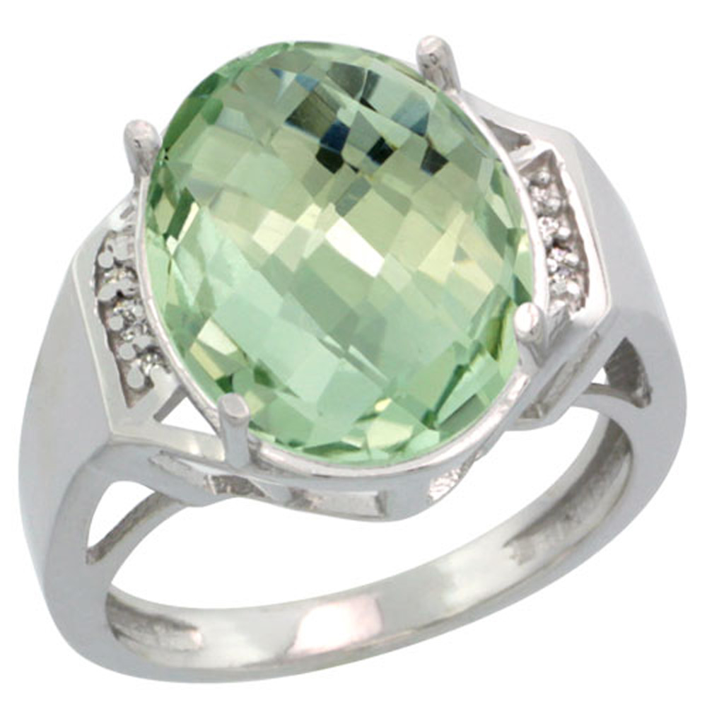 Sterling Silver Diamond Natural Green Amethyst Ring Oval 16x12mm, 5/8 inch wide, sizes 5-10