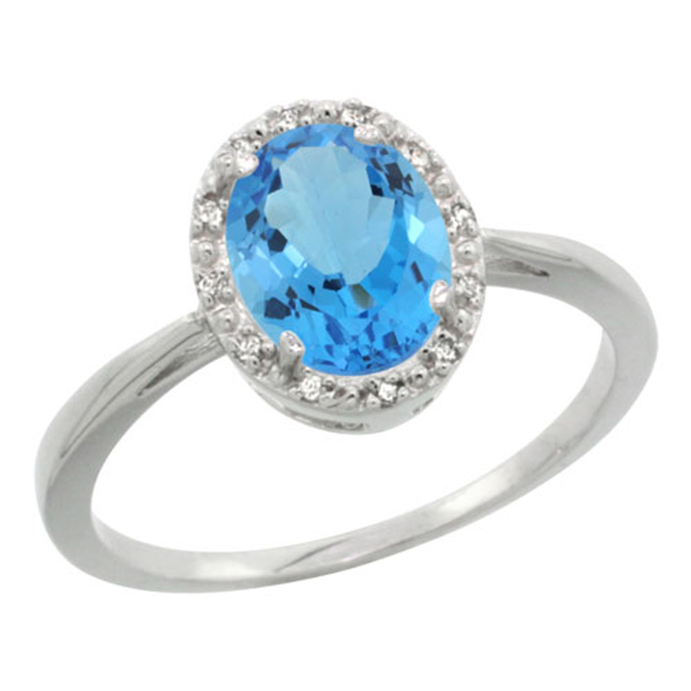 Sterling Silver Natural Swiss Blue Topaz Diamond Halo Ring Oval 8X6mm, 1/2 inch wide, sizes 5-10