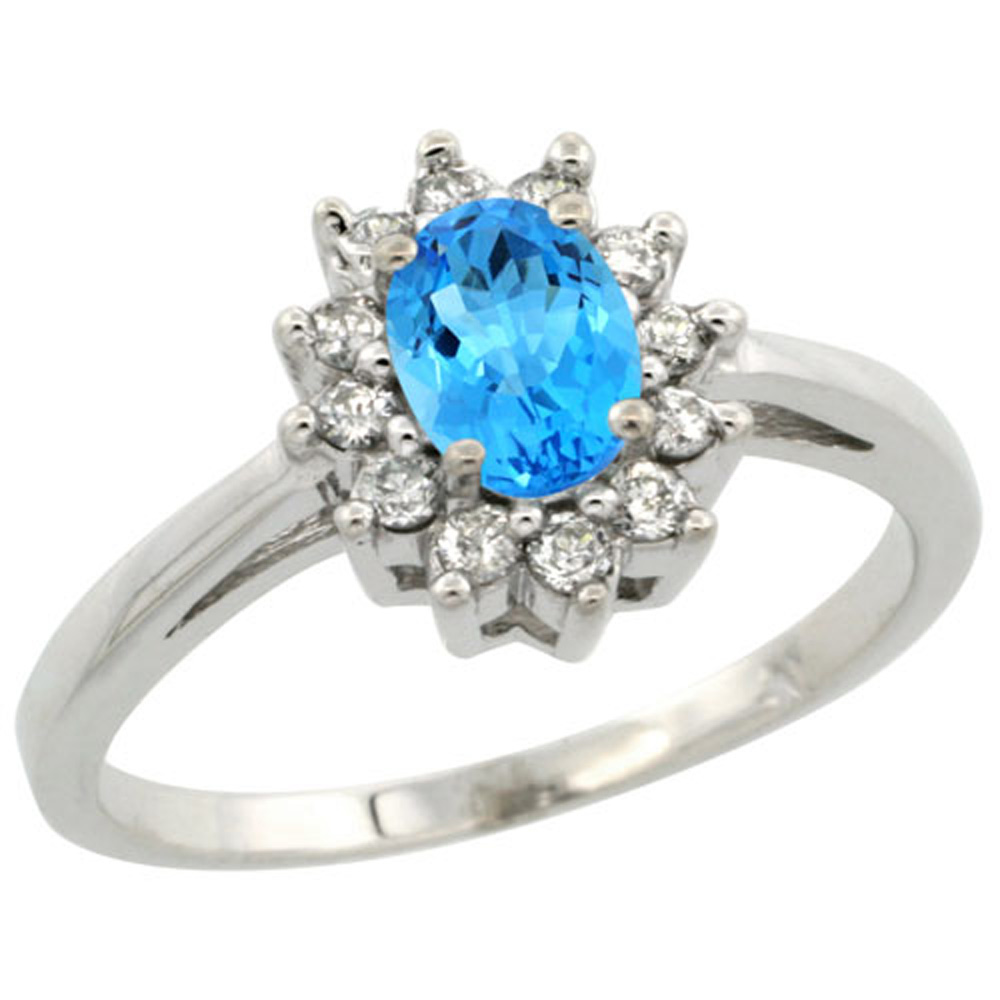 Sterling Silver Natural Swiss Blue Topaz Diamond Flower Halo Ring Oval 6X4mm, 3/8 inch wide, sizes 5-10