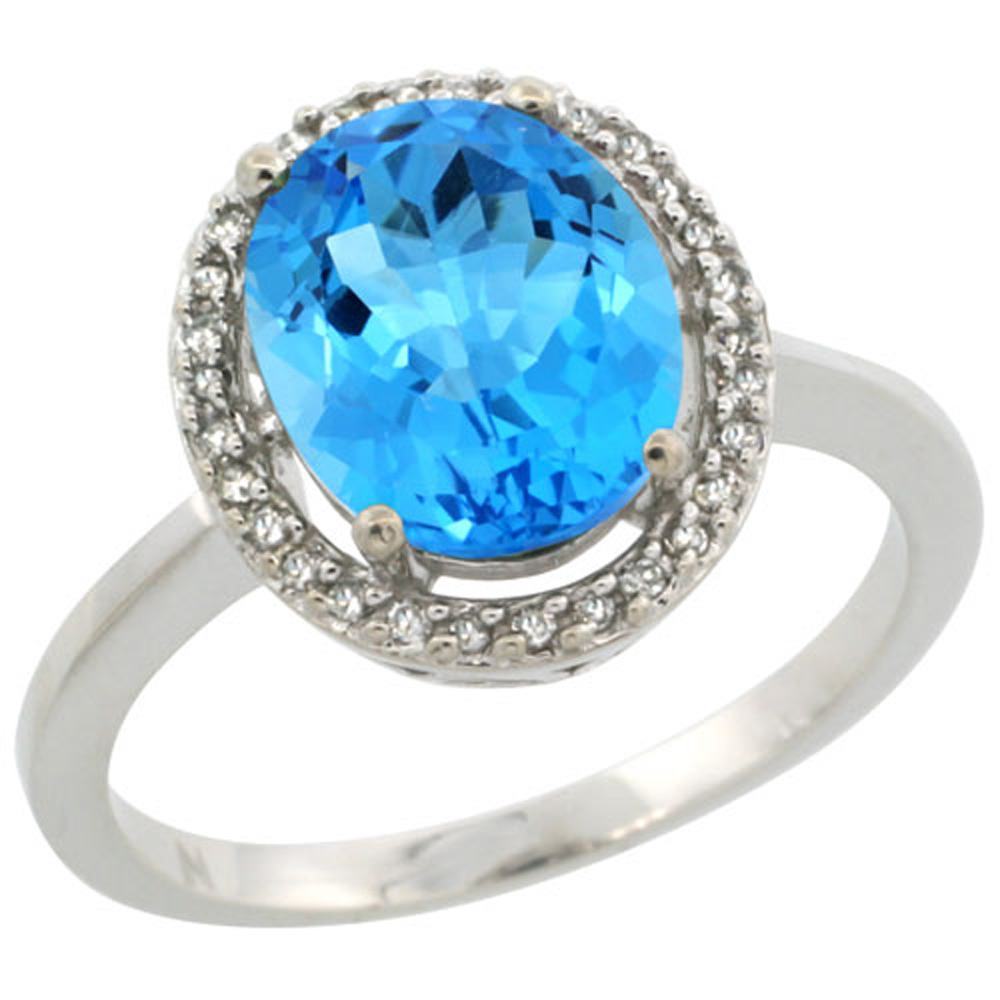 Sterling Silver Diamond Halo Natural Swiss Blue Topaz Ring Oval 10X8 mm, 1/2 inch wide, sizes 5-10