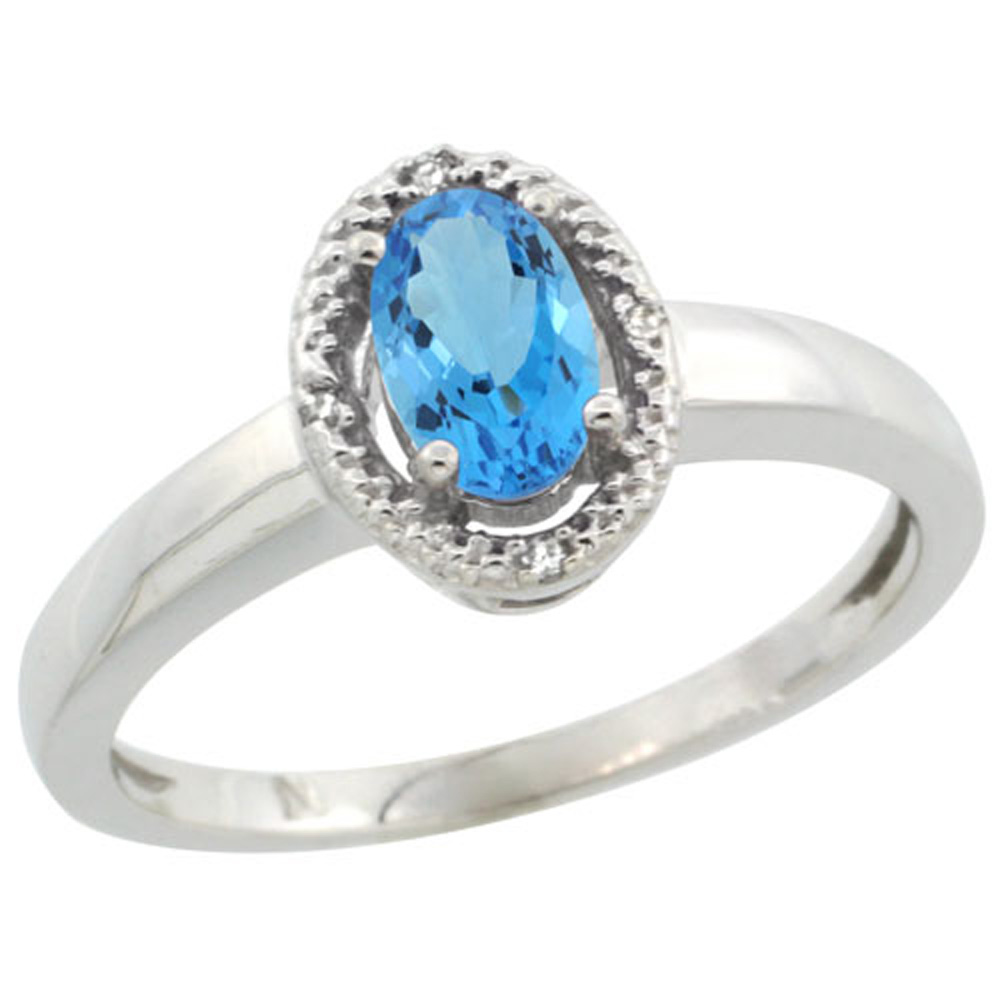Sterling Silver Diamond Halo Natural Swiss Blue Topaz Ring Oval 6X4 mm, 3/8 inch wide, sizes 5-10