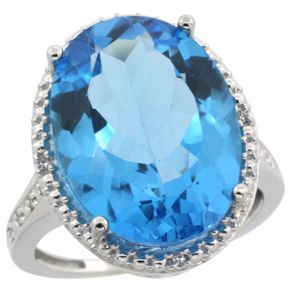 Sterling Silver Diamond Natural Swiss Blue Topaz Ring Oval 18x13mm, 3/4 inch wide, sizes 5-10