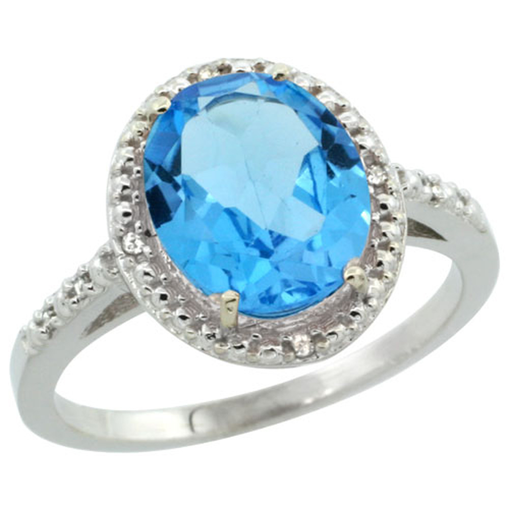Sterling Silver Diamond Natural Swiss Blue Topaz Ring Oval 10x8mm, 1/2 inch wide, sizes 5-10
