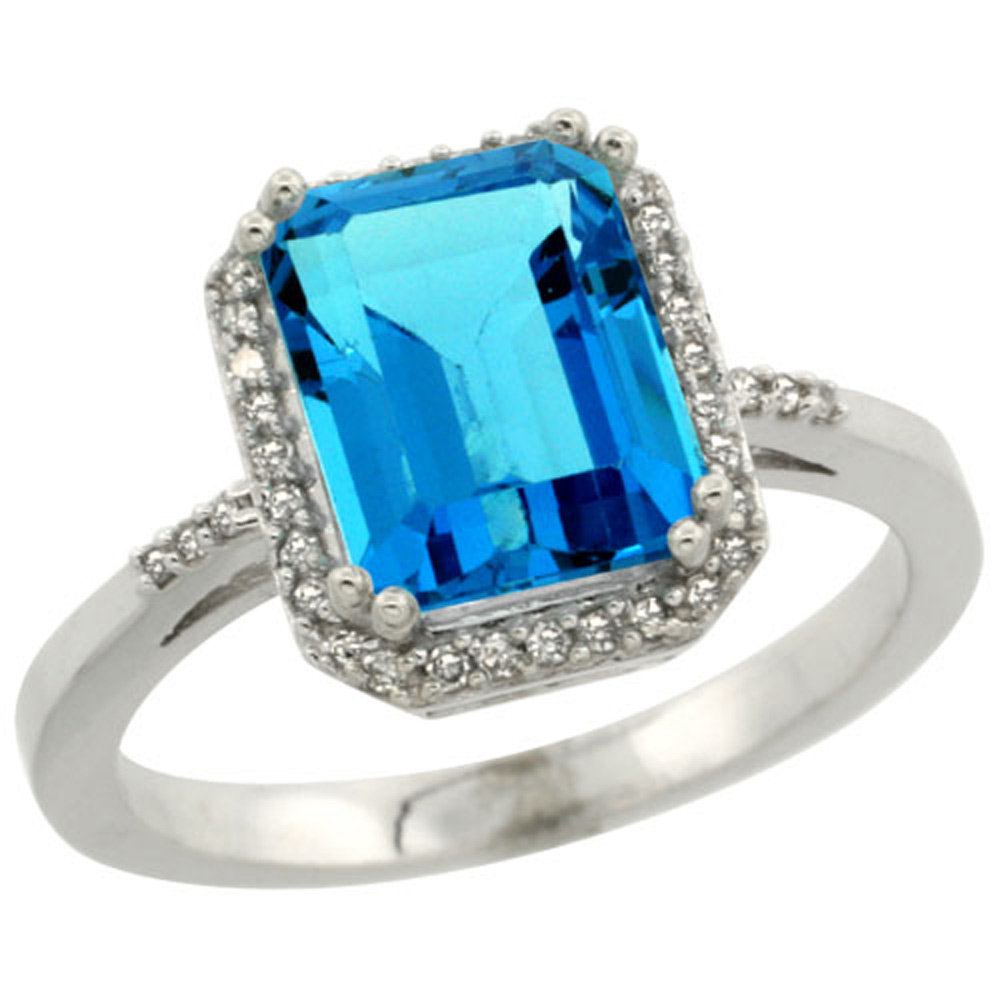 Sterling Silver Diamond Natural Swiss Blue Topaz Ring Emerald-cut 9x7mm, 1/2 inch wide, sizes 5-10