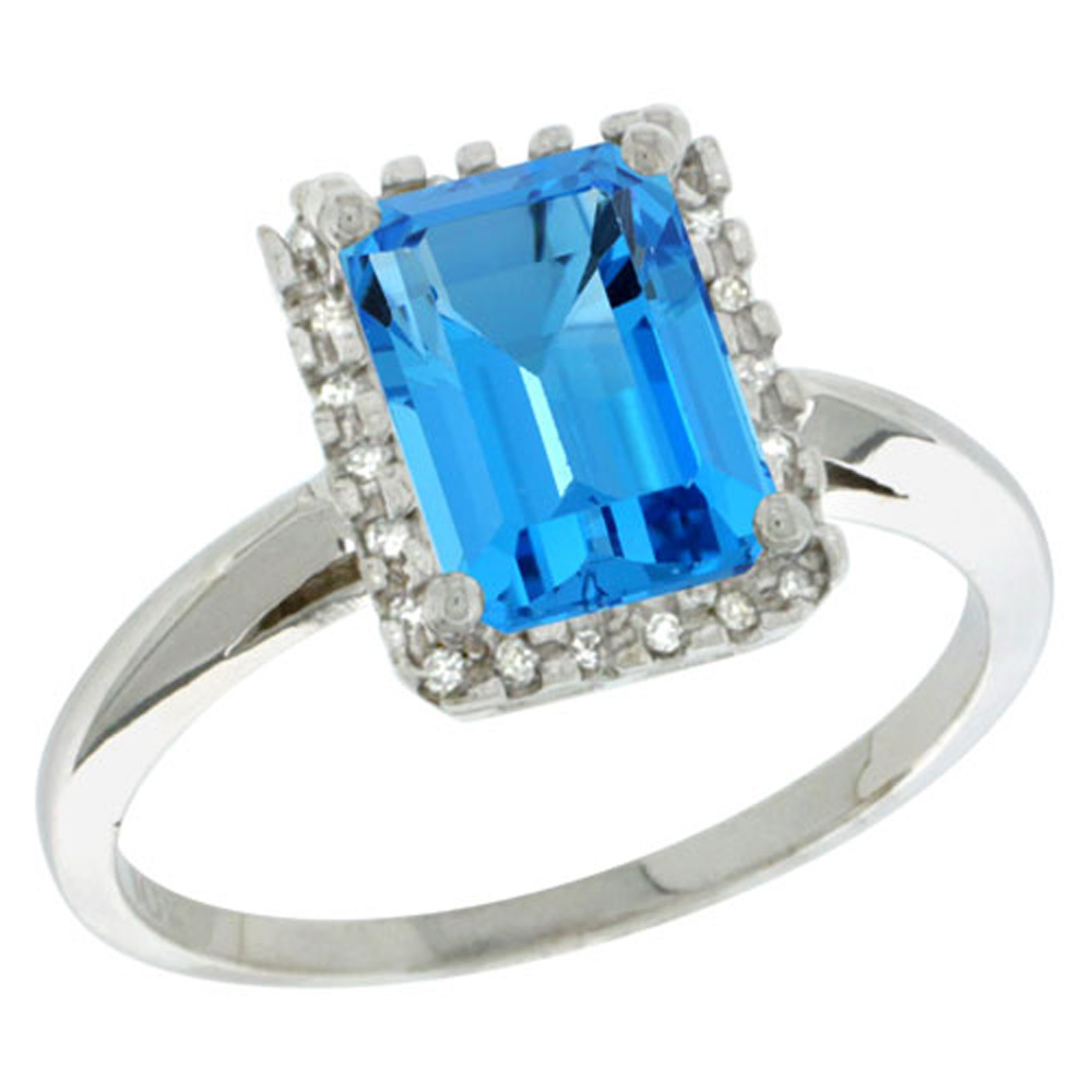 Sterling Silver Diamond Natural Swiss Blue Topaz Ring Emerald-cut 8x6mm, 1/2 inch wide, sizes 5-10