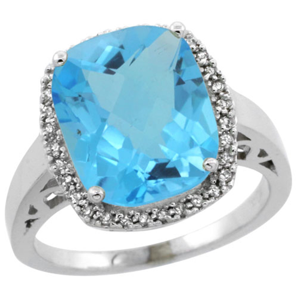 Sterling Silver Diamond Natural Swiss Blue Topaz Ring Cushion-cut 12x10mm, 1/2 inch wide, sizes 5-10