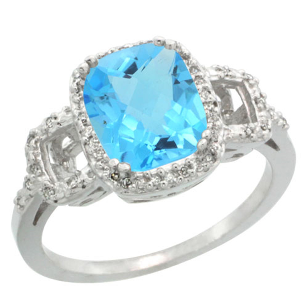 Sterling Silver Diamond Natural Swiss Blue Topaz Ring Cushion-cut 9x7mm, 1/2 inch wide, sizes 5-10
