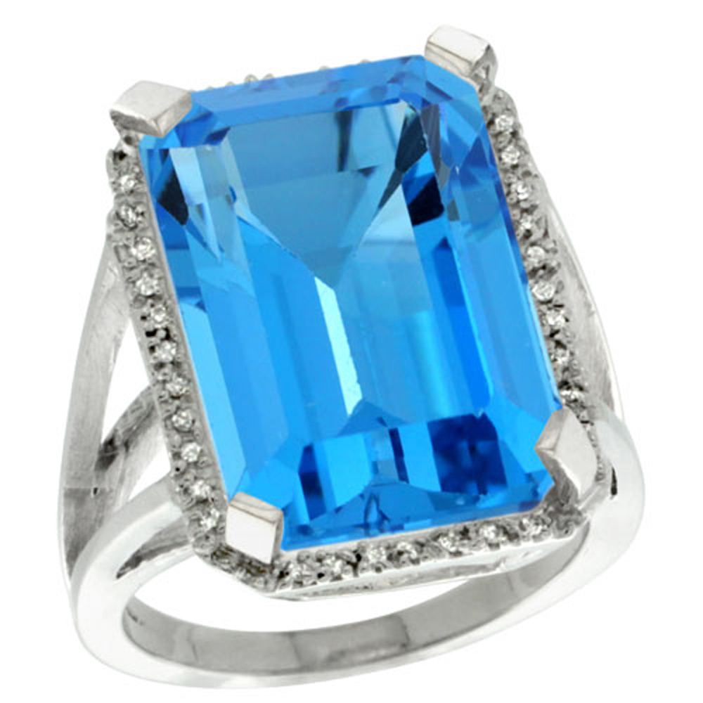 Sterling Silver Diamond Natural Swiss Blue Topaz Ring Emerald-cut 18x13mm, 13/16 inch wide, sizes 5-10