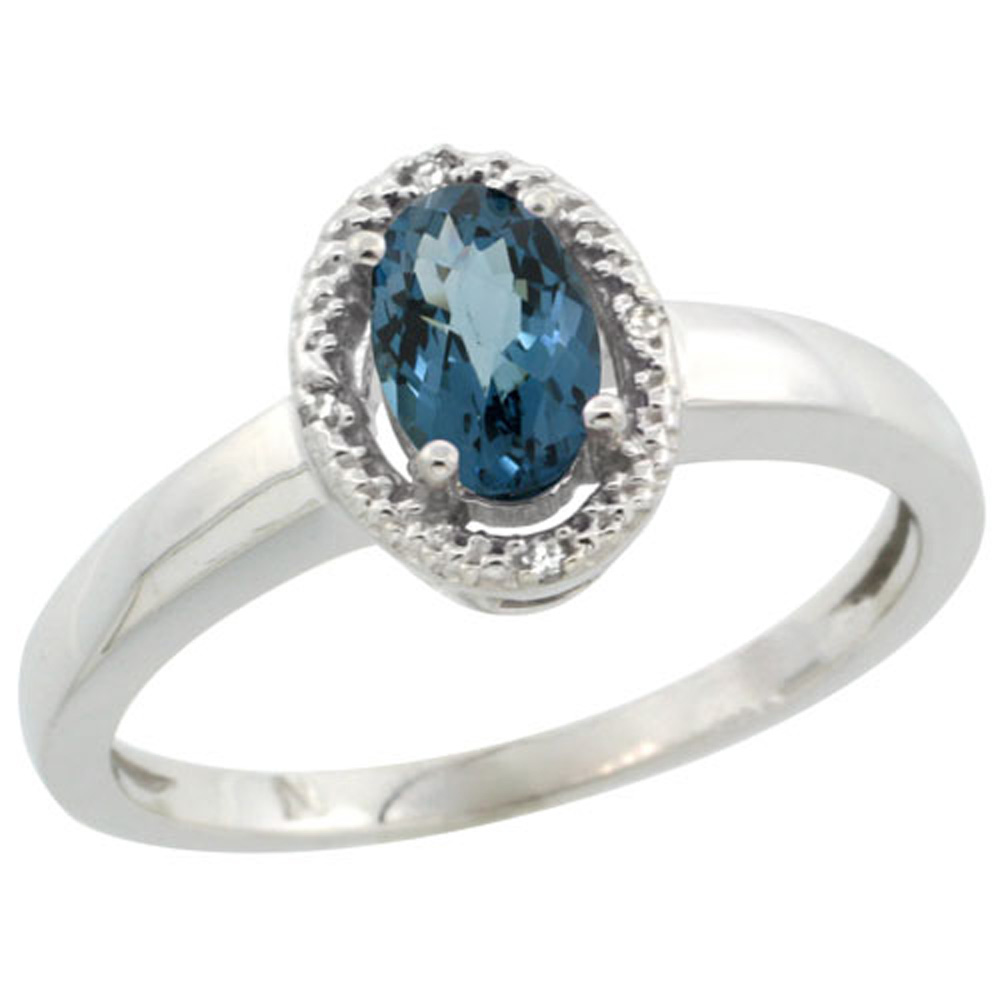 Sterling Silver Diamond Halo Natural London Blue Topaz Ring Oval 6X4 mm, 3/8 inch wide, sizes 5-10