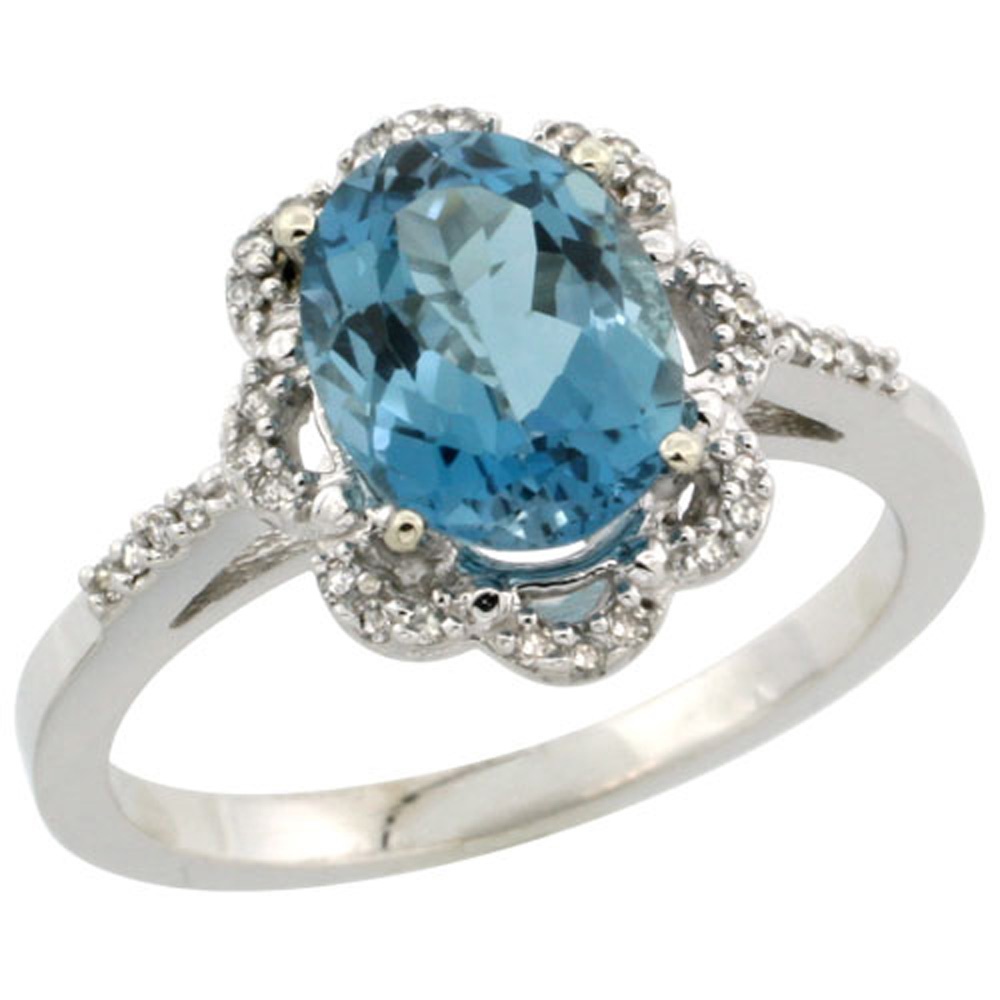 Sterling Silver Diamond Halo Natural London Blue Topaz Ring Oval 9x7mm, 7/16 inch wide, sizes 5-10