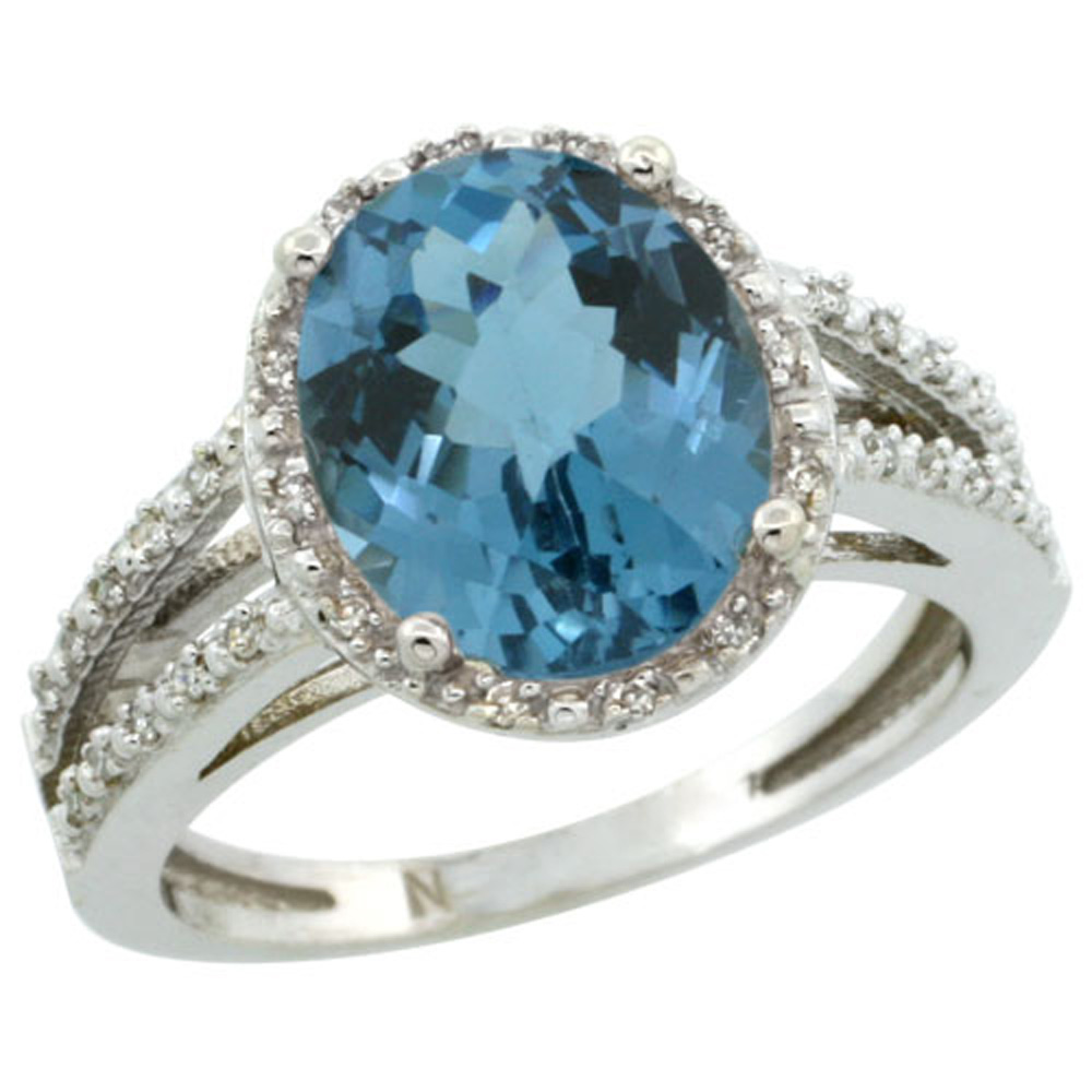 Sterling Silver Diamond Halo Natural London Blue Topaz Ring Oval 11x9mm, 7/16 inch wide, sizes 5-10