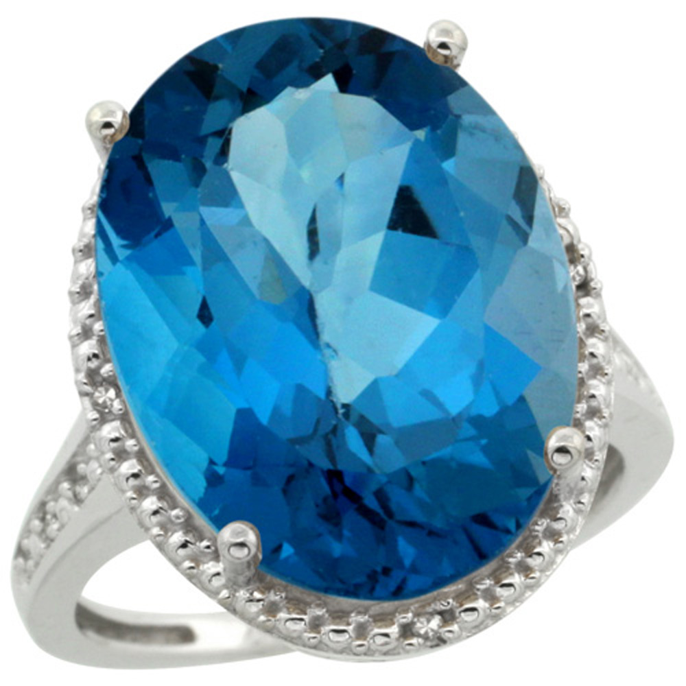 Sterling Silver Diamond Natural London Blue Topaz Ring Oval 18x13mm, 3/4 inch wide, sizes 5-10