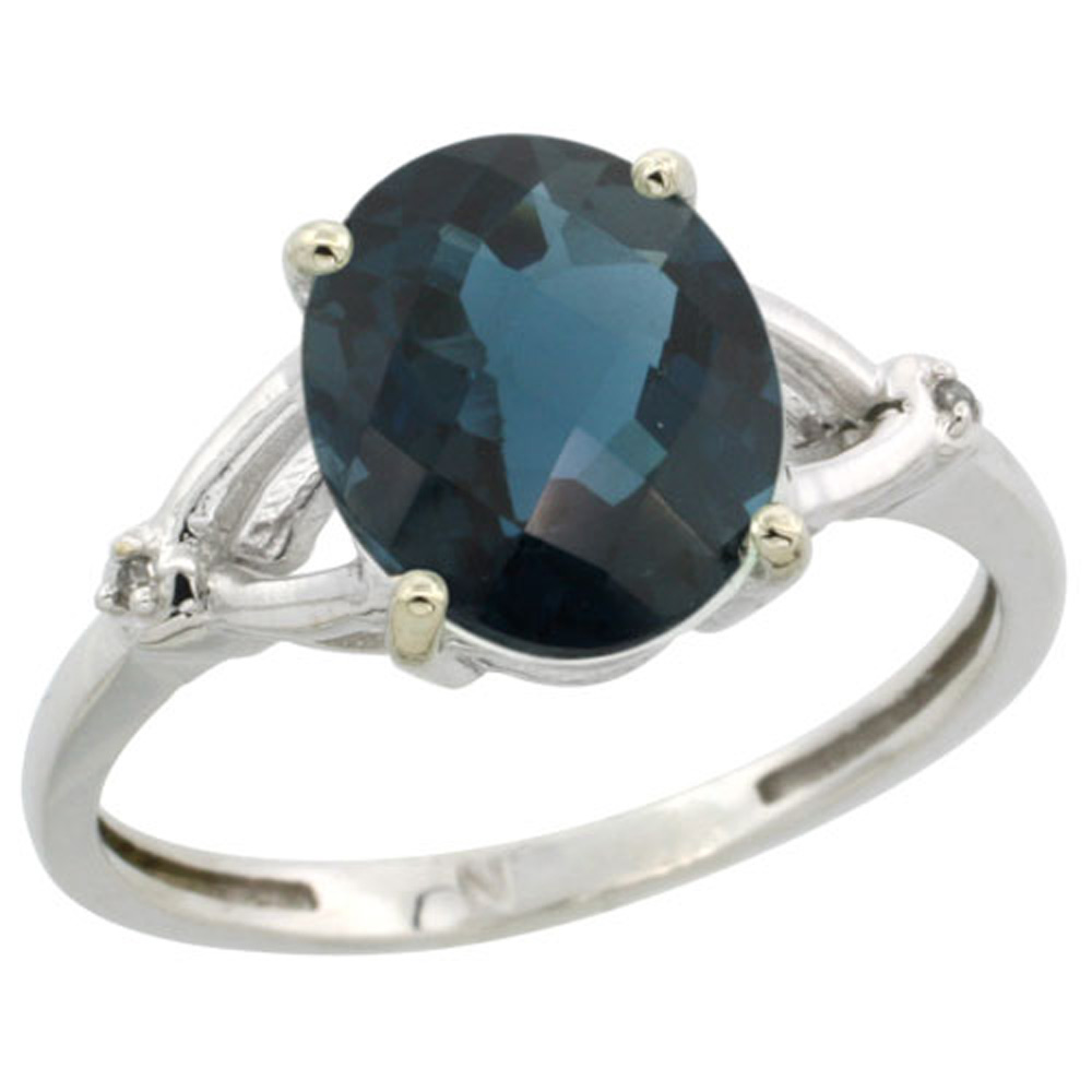 Sterling Silver Diamond Natural London Blue Topaz Ring Oval 10x8mm, 3/8 inch wide, sizes 5-10