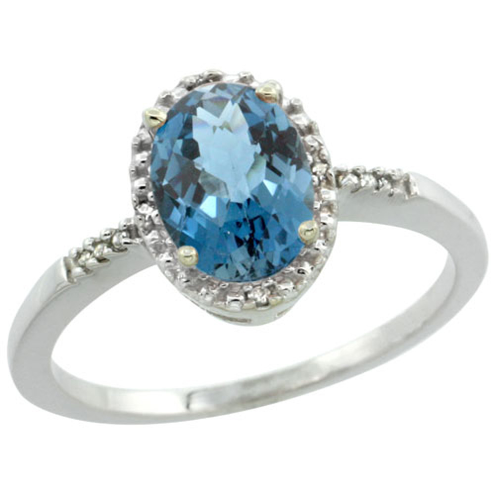 Sterling Silver Diamond Natural London Blue Topaz Ring Oval 8x6mm, 3/8 inch wide, sizes 5-10