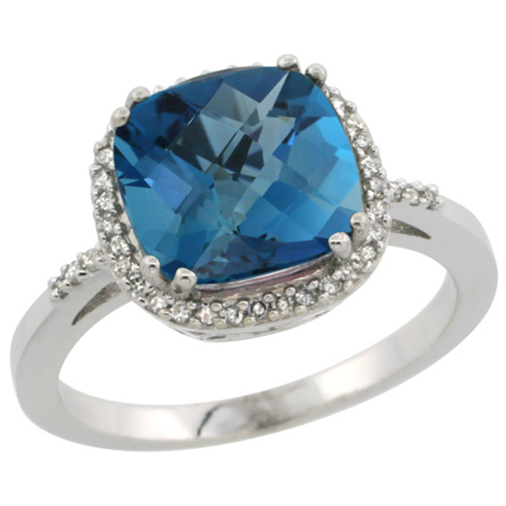 Sterling Silver Diamond Natural London Blue Topaz Ring Cushion-cut 9x9mm, 1/2 inch wide, sizes 5-10