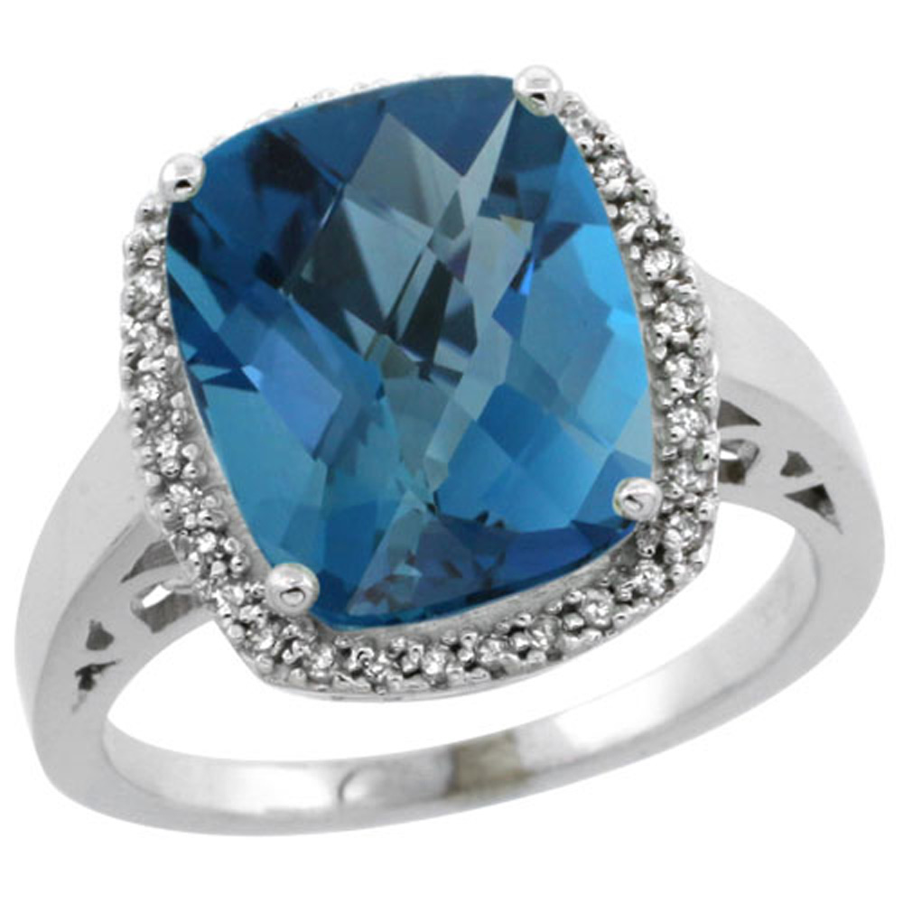 Sterling Silver Diamond Natural London Blue Topaz Ring Cushion-cut 12x10mm, 1/2 inch wide, sizes 5-10