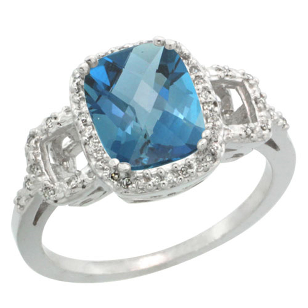 Sterling Silver Diamond Natural London Blue Topaz Ring Cushion-cut 9x7mm, 1/2 inch wide, sizes 5-10