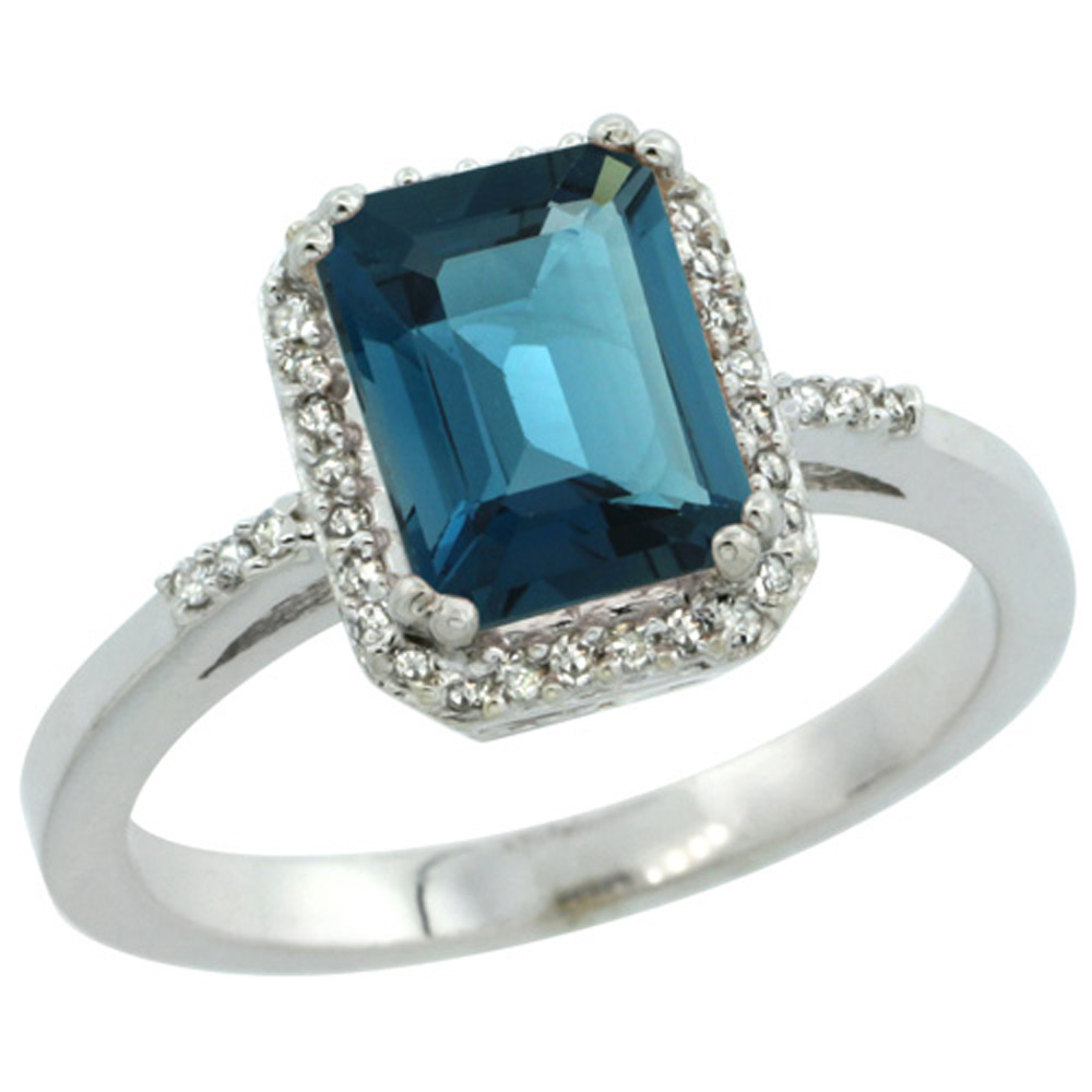 Sterling Silver Diamond Natural London Blue Topaz Ring Emerald-cut 8x6mm, 1/2 inch wide, sizes 5-10