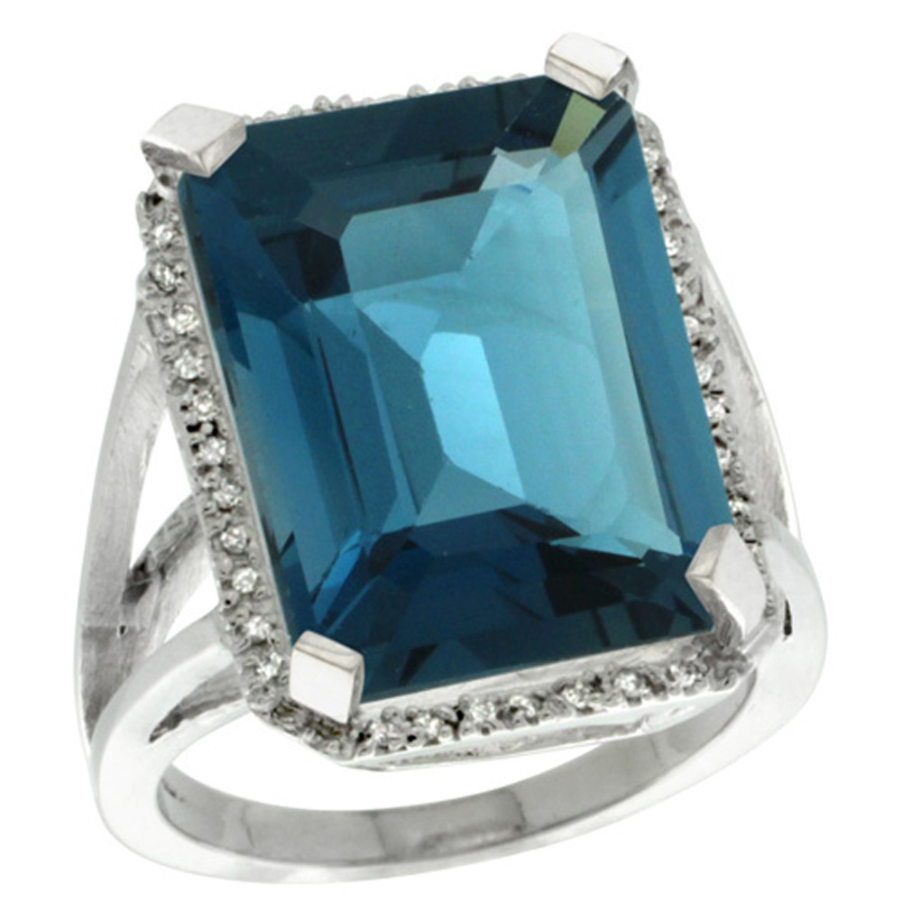 Sterling Silver Diamond Natural London Blue Topaz Ring Emerald-cut 18x13mm, 13/16 inch wide, sizes 5-10