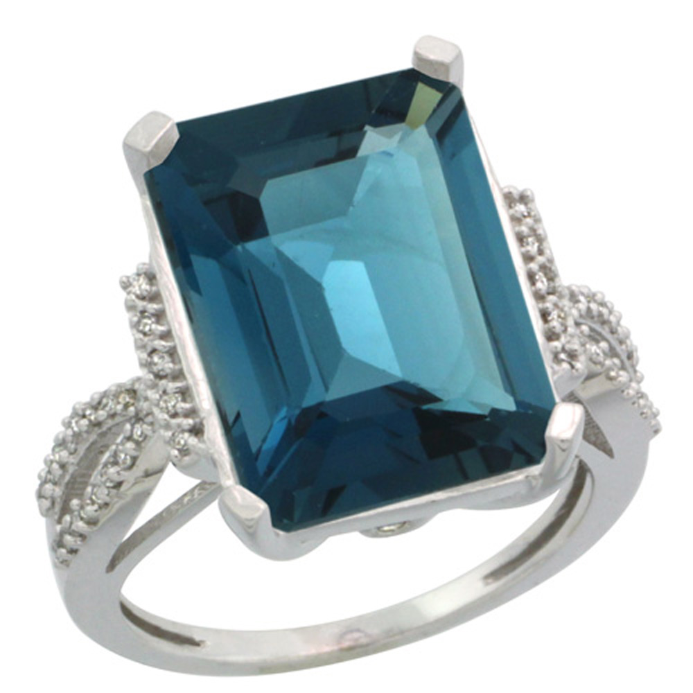 Sterling Silver Diamond Natural London Blue Topaz Ring Emerald-cut 16x12mm, 3/4 inch wide, sizes 5-10