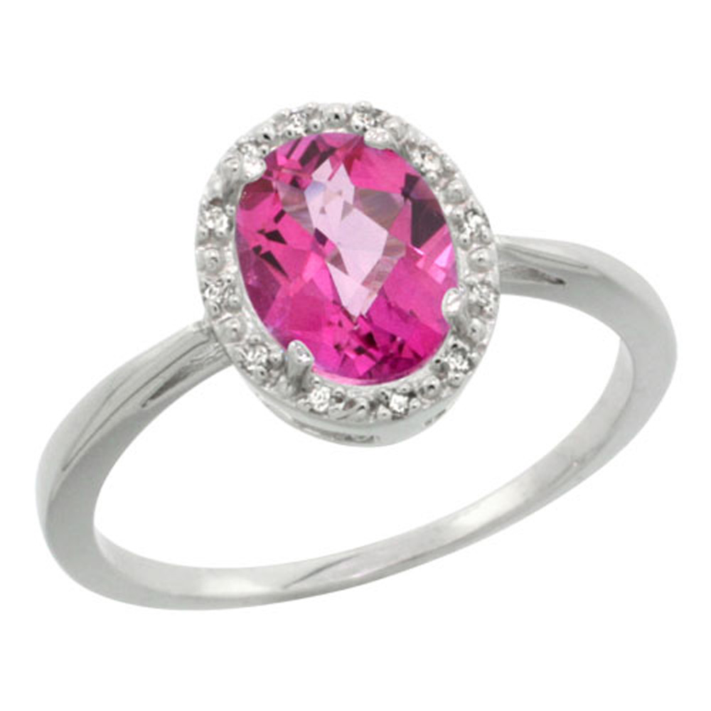Sterling Silver Natural Pink Topaz Diamond Halo Ring Oval 8X6mm, 1/2 inch wide, sizes 5-10