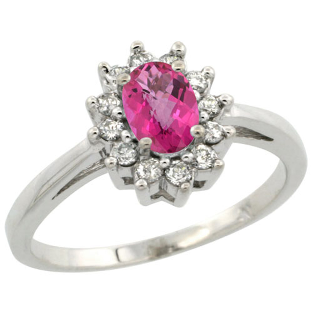 Sterling Silver Natural Pink Topaz Diamond Flower Halo Ring Oval 6X4mm, 3/8 inch wide, sizes 5-10