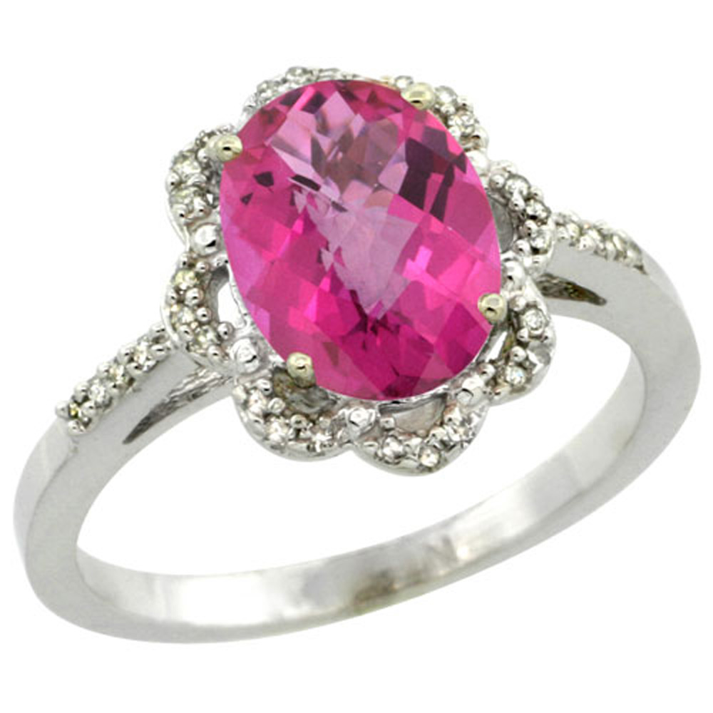 Sterling Silver Diamond Halo Natural Pink Topaz Ring Oval 9x7mm, 7/16 inch wide, sizes 5-10