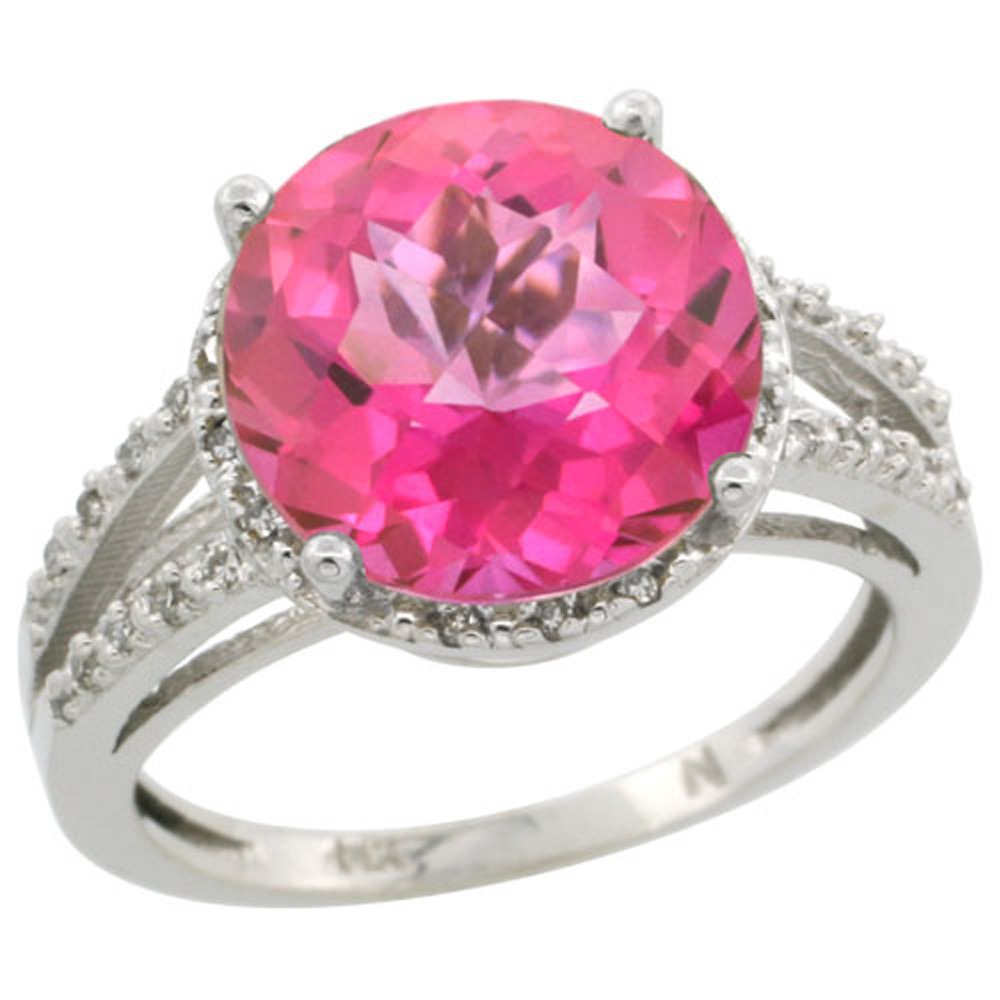 Sterling Silver Diamond Natural Pink Topaz Ring Round 11mm, 1/2 inch wide, sizes 5-10