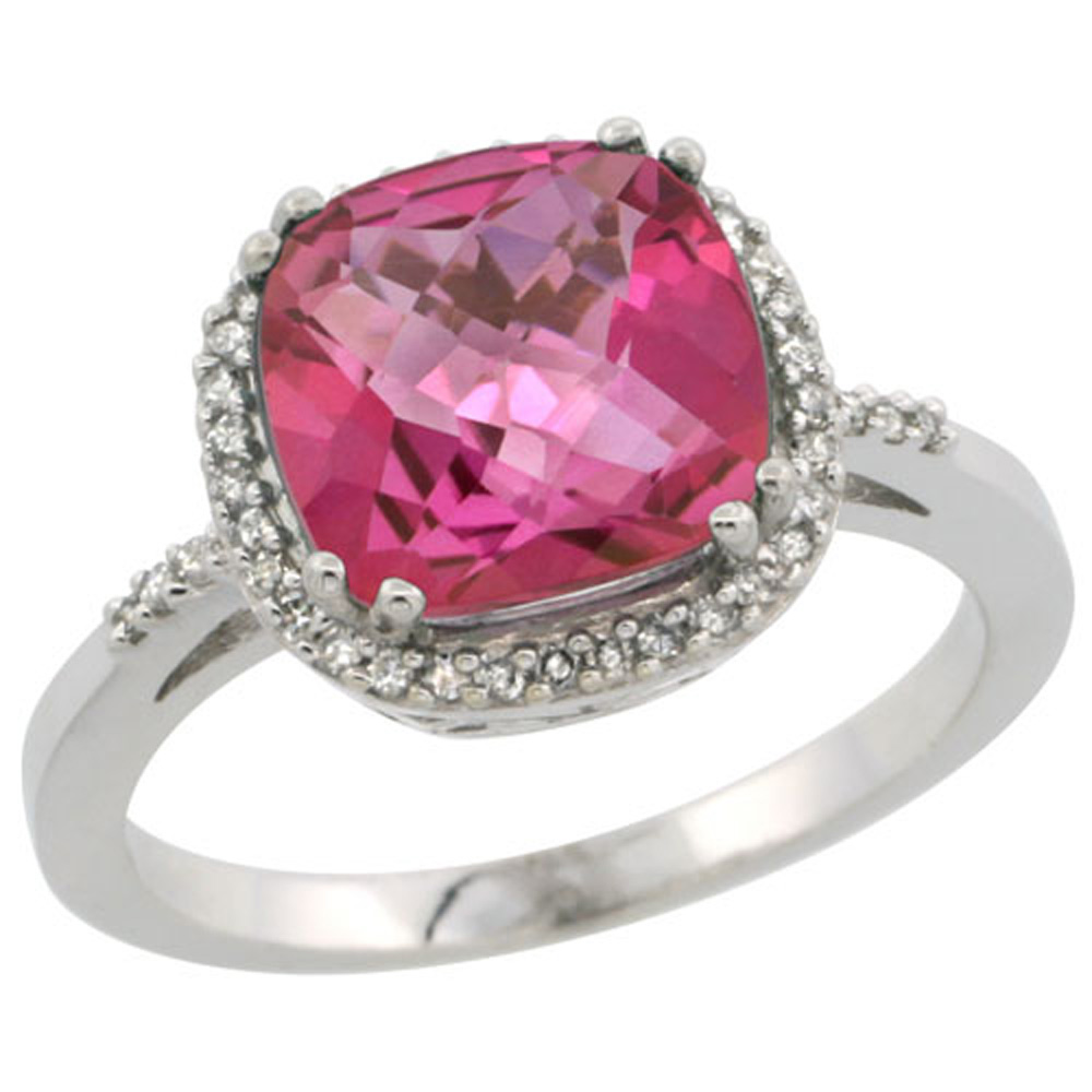 Sterling Silver Diamond Natural Pink Topaz Ring Cushion-cut 9x9mm, 1/2 inch wide, sizes 5-10