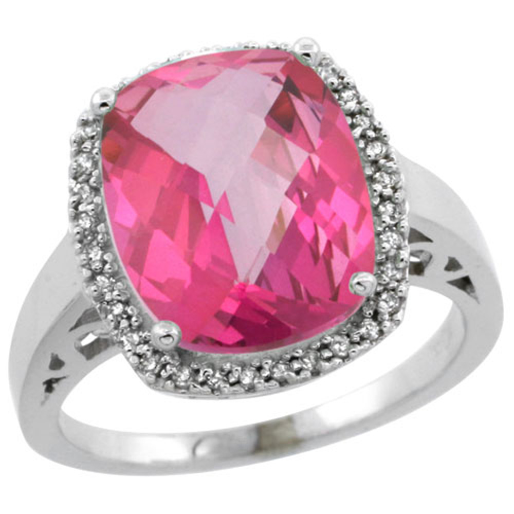 Sterling Silver Diamond Natural Pink Topaz Ring Cushion-cut 12x10mm, 1/2 inch wide, sizes 5-10