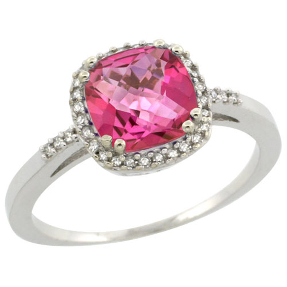Sterling Silver Diamond Natural Pink Topaz Ring Cushion-cut 7x7mm, 3/8 inch wide, sizes 5-10