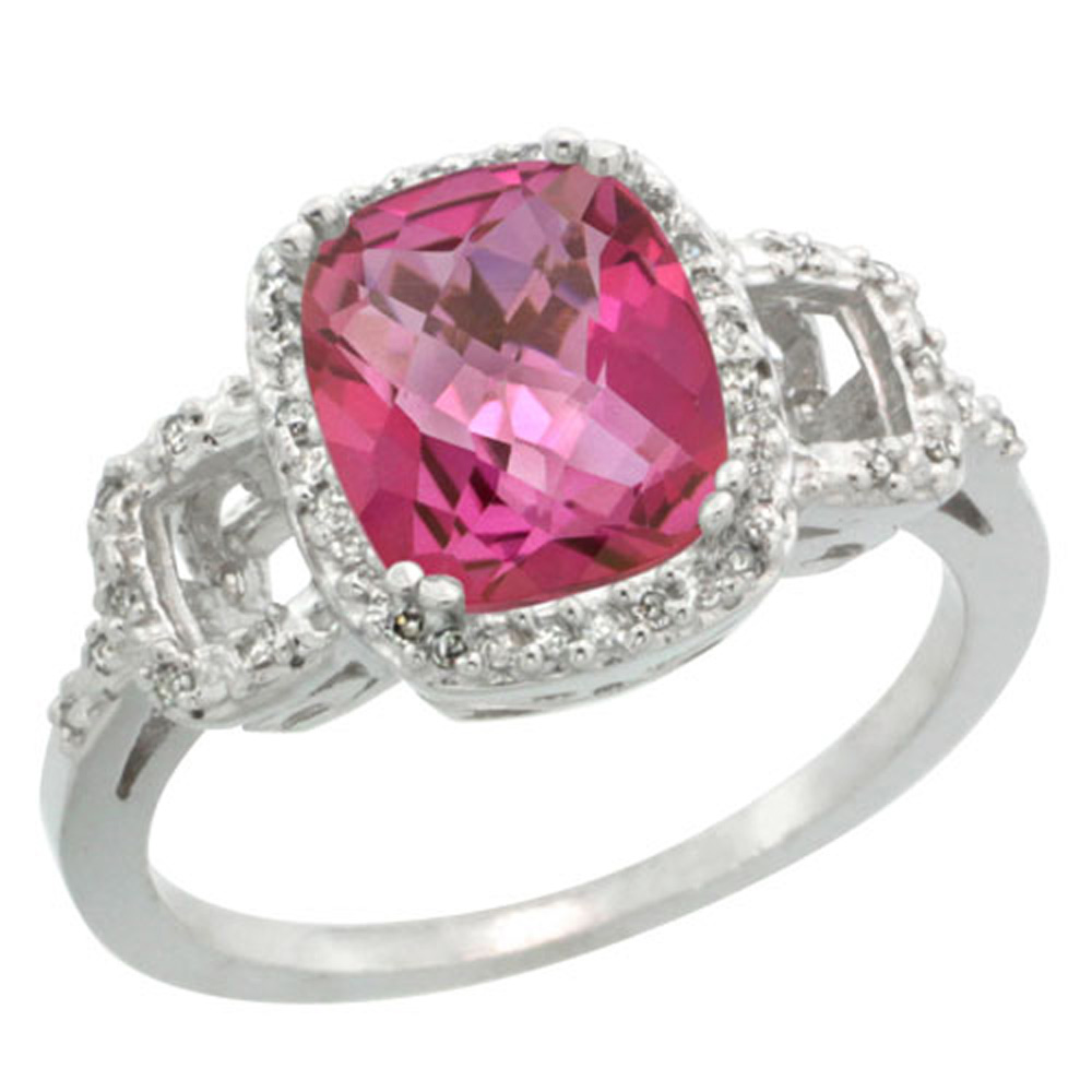 Sterling Silver Diamond Natural Pink Topaz Ring Cushion-cut 9x7mm, 1 ...