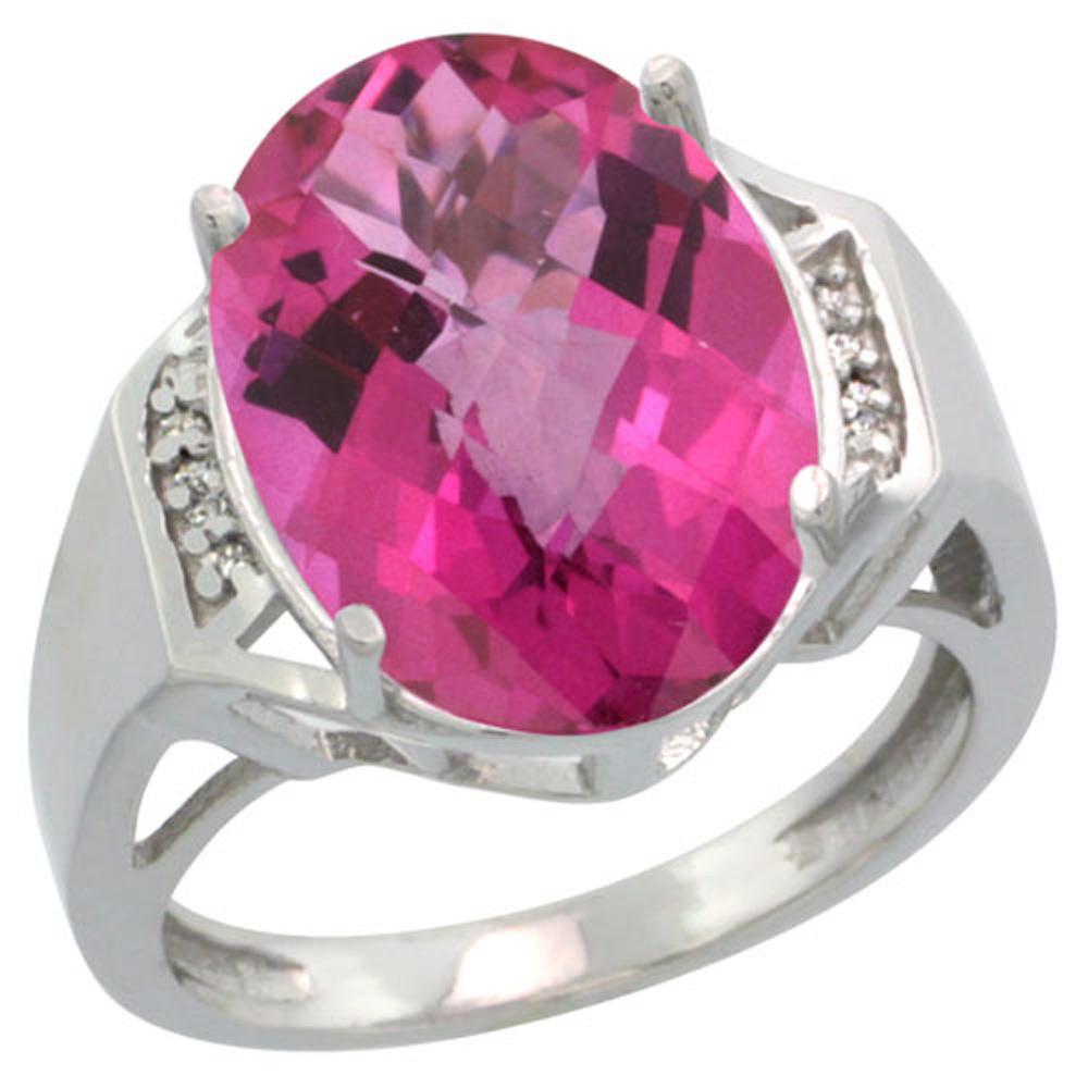 Sterling Silver Diamond Natural Pink Topaz Ring Oval 16x12mm, 5/8 inch wide, sizes 5-10