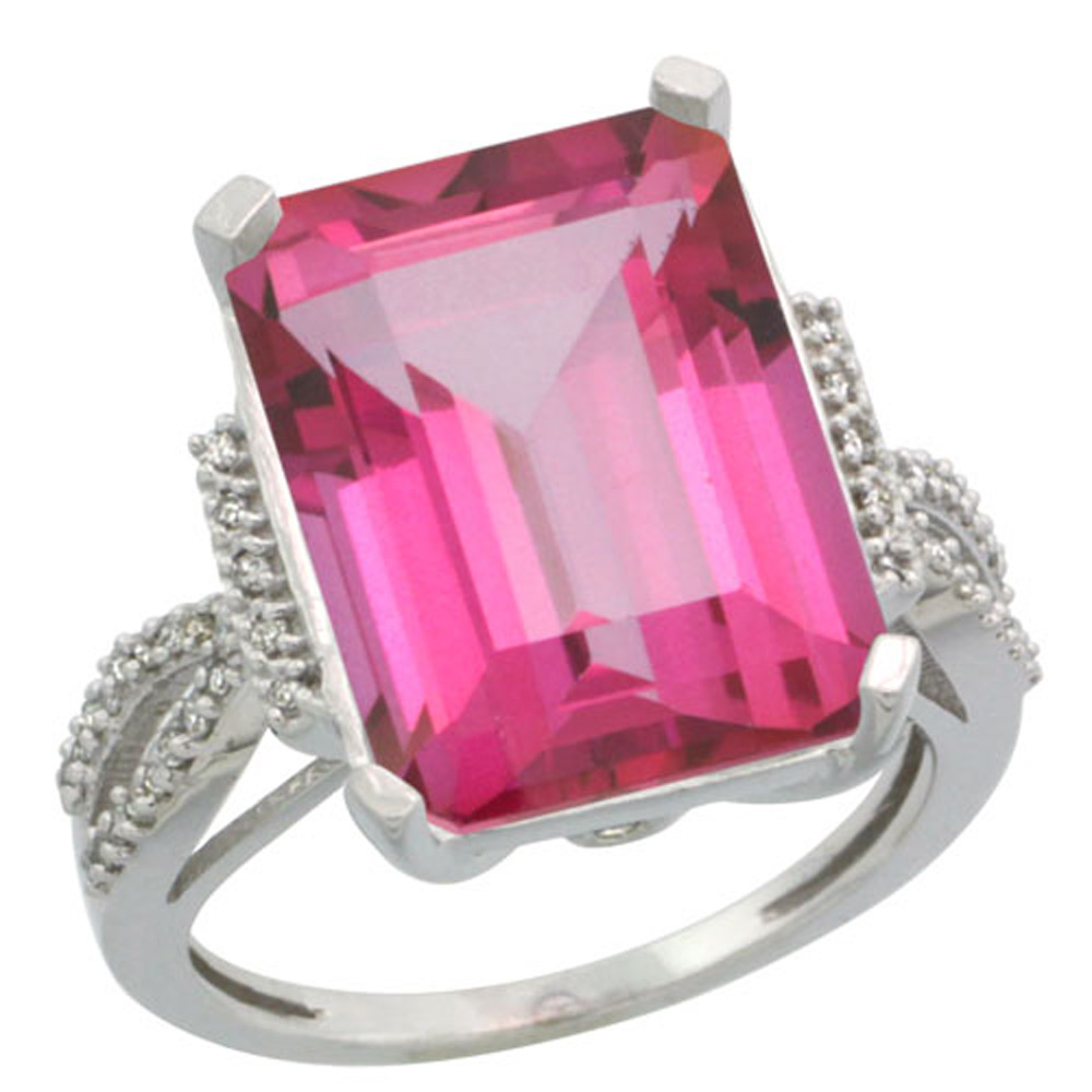 Sterling Silver Diamond Natural Pink Topaz Ring Emerald-cut 16x12mm, 3/4 inch wide, sizes 5-10