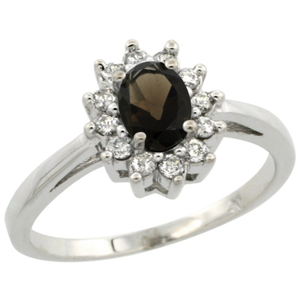 Sterling Silver Natural Smoky Topaz Diamond Flower Halo Ring Oval 6X4mm, 3/8 inch wide, sizes 5 10