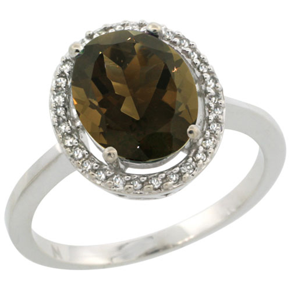 Sterling Silver Diamond Halo Natural Smoky Topaz Ring Oval 10X8 mm, 1/2 inch wide, sizes 5-10